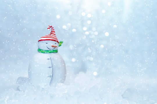 Image of snowman in snow